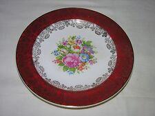 Salem China Maroon Band - 23K Gold Filigree - Floral Center - Dessert Plate