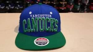 NHL Vancouver Canucks 2 Tone Team Name and Logo on Side Retro Snapback Cap