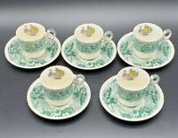 Vintage Set of Five England Copeland Spode Byron Demitasse Tea Cup and Saucer