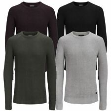 Mens Jumper JACK & JONES Pannel Crew Neck Long Knitted Pull Over Sweater