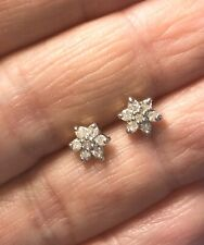 9ct Yellow Gold Diamond Flower Cluster Stud Earrings 0.30ct