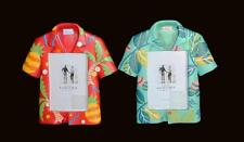 Two Sonoma Hawaiian Shirt Picture Photo Stand-Up Turquoise & Red 3.5 x 5 Frames