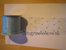 1 m x 5 cm blu / argento ORGANZA GLITTERATE multifunzione-Artigianato / TORTA rendendo / Nozze