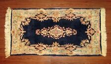 "45x23"" Antique VTG Distressed Navy Blue and Pink Wool Hand Knotted Iranian Rug"