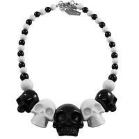 Kreepsville 666 Skull Collection 2 Tone Horror Goth Punk Spooky Necklace JNSC2BW