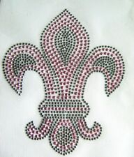 PINK FLEUR DE LIS RHINESTONE IRON ON APPLIQUE / HOT FIX TRANSFER