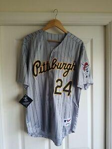 NWT Barry Bonds #24 Pittsburg Pirates Throwback Jersey grey Sz LARGE