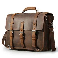 """Large Men Leather 17"""" Laptop Backpack Briefcase Messenger Shoulder Bag Portfolio"""