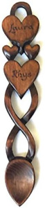 Two Hearts in One - Hand Carved Welsh Love Spoons - Free Engraving of Names/Date