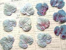 Vintage Millinery Leaves Blue Pink Silk Velvet Leaf Embossed Lot