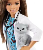 Barbie🌟Pet Vet Doll🌟Brunette,Wearing Career Pet-print Dress with kitty Patient