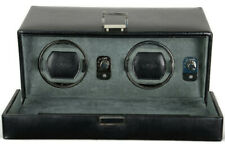 Wolf Designs 452602 Dual Watch Winder Black w/Cover Silver Latches Battery Power