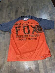 Fox Indicator Gray & Orange Bike Cycling Jersey T-Shirt Size Medium