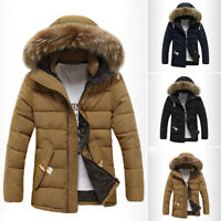 Men's Warm Duck Down Jacket Fur Collar Thicken Winter Hooded Coat Outwear Parka