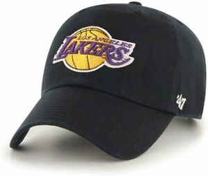 Los Angeles Lakers '47 Clean Up Black Hat Cap NBA Basketball Adjustable Straps