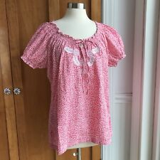 Bit & Bridle Women's Peasant Top Size XL Pink & White Polka Dot Embroidered Boho