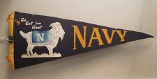 Vintage 1959 Navy College Get Em Goat Football Black Soft Wool Pennant