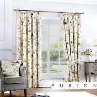 Fusion JEANNIE Heather Purple Floral Ready Made Pencil Pleat Curtains & Cushions