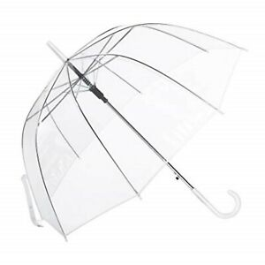 85cm Clear See Through Dome Umbrella, Transparent Walking Rain Brolly 3 colours.