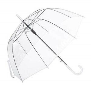 85cm Clear See Through Dome Umbrella, Transparent Walking Rain Brolly 3 colours.