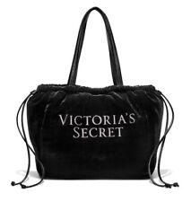 Victoria's Secret Luxe Velvet Tote Bag VS Logo Black Medium New