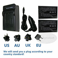 2XBattery+ charger for Fuji NP-60 finepix  601 KLIC-5000 Camileo Pro P10 S10 P30