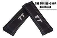 "2x Seat Belt Covers Pads Black Leather ""TT"" Grey Embroidery for Audi"