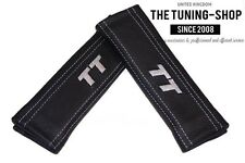 """2x Seat Belt Covers Pads Black Leather """"TT"""" Grey Embroidery for Audi"""