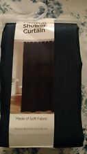 fabric shower curtain solid navy blue textured polyester easycare