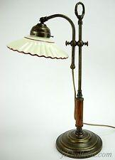 Lampada ottone brunito da tavolo stile liberty con piatto ceramica marrone slp9