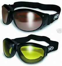 2 Motorcycle Riding Padded Goggles-Sun Glasses-DRIVING MIRROR & YELLOW Lenses
