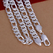 Heavy 60cm 925 Sterling Silver Figaro Link Man Woman Chain Necklace N-A340
