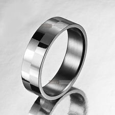 silver ring mens stainless steel US 9 wedding band engravable solid