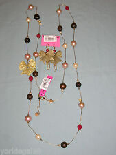 Betsey Johnson Beaded, Pearl, Bow Long Strand Necklace & Earring Set New + Tag