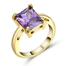Purple Amethyst CZ Engagement Ring 18K yellow Gold Filled Wedding Band Size 6