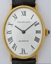 Long 18k Gold Tiffany Vintage Ladies Unisex Oval Working Wrist Watch