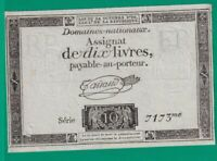 ASSIGNAT  FRENCH  REVOLUTION  10 LIVRES   1793 .G.  - 7173 - 2 - CURRENCY BILL
