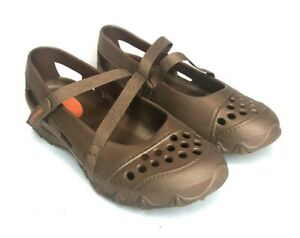 Skechers Womens Brown Cross Strap Mary Jane Rubber Shoes 6.5