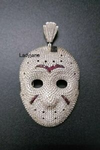 Solid 925 Silver With Pave Shiny CZ, Pink Ruby & Onyx Men's Jason Mask Pendant