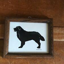 Signed M. Diener Scherenschnitte Bernese Mountain Dog Silhouette Picture in Wood