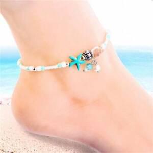 Boho Ankle Bracelet Silver Women Beaded Adjustable Shell Beach Anklet FI