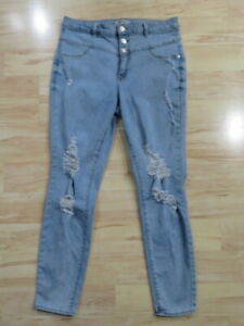 Women's Refuge High Rise Distressed Skinny Ripped Blue Jeans Pants Size 10