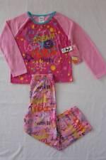 NEW Girls 2 Piece Flannel Pajamas Set XS 4 - 5 Pink Peace Top Pants PJs Smile