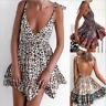 Womens Slip Dress Summer Floral Print Backless Strappy Beach Sexy Mini Sundress