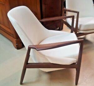 Kofod Larsen Elizabeth Seal Style Chair REAL White Leather Mid Century Modern IB