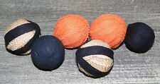 "HALLOWEEN Set of 6 - 1.5"" Rag Balls BLACK / ORANGE / NATURAL, Bowl / Jar Fillers"