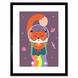 Fox Astronaut Art Print Framed Poster Wall Decor
