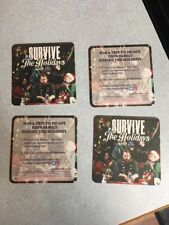 Set Of 4! Pabst Blue Ribbon (PBR) Survive The Holidays Beer Coaster!