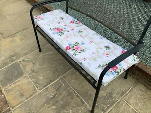 "Floral natural 2 seater garden bench pad/cushion 45"" , removable cover and Ties"