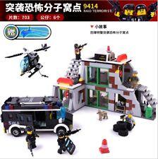 Gudi 703pcs Bricks The Swat Raid Terrorists Dens Police Command Center Block toy